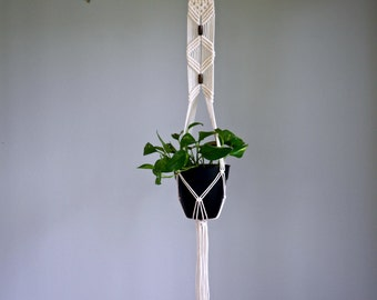 "Macrame Plant Hanger - 45"" Natural White Cotton w/ Brass Ring & Wood Beads - Modern Indoor Hanging Planter - Boho Home Decor - MADE TO ORDER"