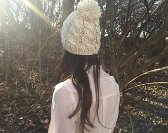 Cable Knit Slouchy Hat with Pom Pom, Beanie / Cream White / Vegan Yarn