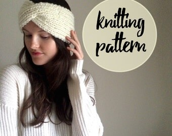 Knitted Twist Turband Headband Pattern / Easy Cable Knitting Pattern / Beginner Knitting Project / Instant PDF Digital Download