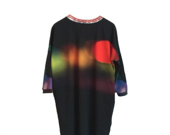 Mid Season SALE Oversize dress  for women with dimed lights print, made from organic cotton