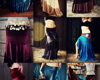 Custom Madalene Skirt 2.0- Twist Ruffle Slinky Flamenco Tribal Bellydance High Slit Maxi, 6 Yard Hem, Custom Size & Fabric