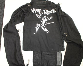 Punk -Bondage Shirt -Vive Le Rock -Vivienne Westwood-Slogan-unisex -Straight Jacket- long sleeve-black cotton muslin XS Small 32-petite