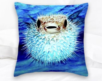Puffer Fish Pillow | Beach Decor | Blow Fish | Ocean | Nautical Pillow | Pufferfish | Decorative Pillow | Sea Life Pillows | Fish Pillow