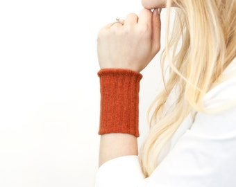Fabric Wrist Cuff Bracelet, Stretch Burnt Orange Arm Band, Sleeve Extender, Wide Armband Wristband, Fall Sweat Yoga Tattoo Cover Up Covers