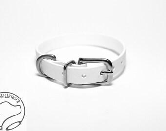 "Snow White Little Dog Collar - 1/2"" (12mm) Thin Biothane Dog Collars - Waterproof Small Dog Collar"