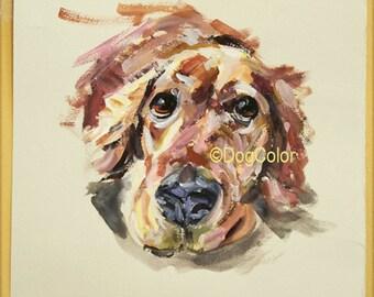 Ready to ship, Original dog painting on paper Golden Retriever