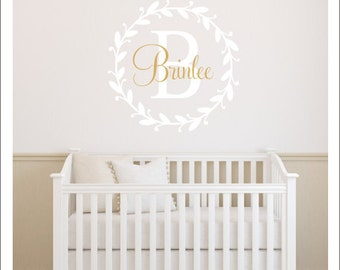 Gold Wall Decal Etsy - Monogram vinyl wall decals for girls