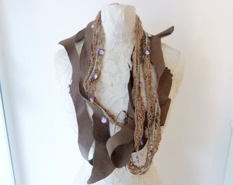 Brown Leather-Crochet Silk Floss Thread-Needle Lace Necklace