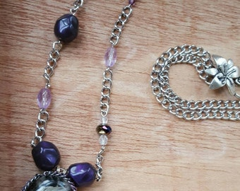 Pin Up Necklace - Purple & Silver Necklace - Classic Hollywood - gifts for a friend