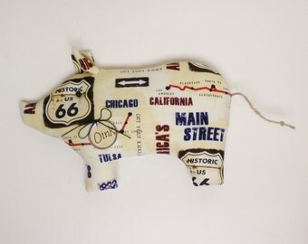 Primitive Americana Route 66 Pig - Made To Order, Fabric Pigs, Country Farmhouse Decor