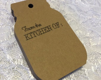 From the Kitchen Of Mason Jar Tag, Kraft Mason Jar Label - Set o 24