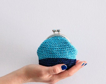 Crochet coin purse, metallic blue purse, sparkling coin purse, kiss lock purse, the Blue Keeper, in turquoise and blue