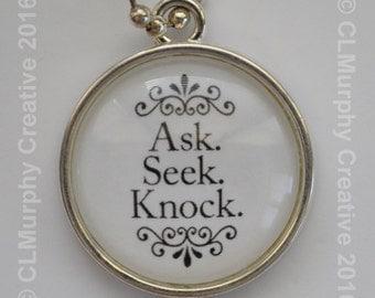 Scripture Necklace Pendant Jewelry Matthew 7:7 Ask Seek Knock C L Murphy Creative 2016