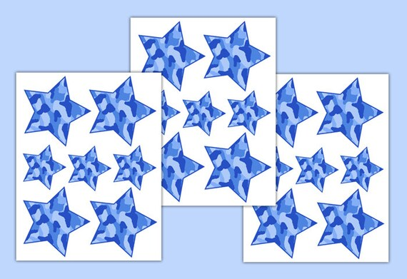 Blue Star Wall Decor : Blue camo decal star wall art sticker camouflage room decor