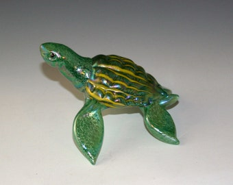 Blown Glass Sea Turtle - Light Green with Dark Green and Yellow Striped Shell