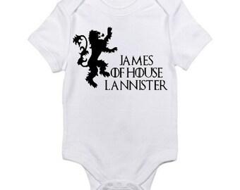 Game of Thrones PERSONALIZED Baby Onesie / House Of Lannister / Game of Thrones Inspired Baby Bodysuit /Baby Shower Gift / Newborn Baby