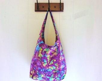 Boho Tote Bag with Pockets Batik Hippie Bag Purple Green Blue Design Slouch Style Over the Shoulder Bag Short Strap Hobo Bag Cloth Purse