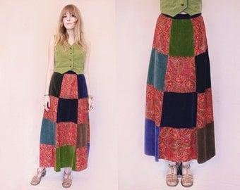 Vtg 70s Multicolor Patchwork Folk Velveteen Paisley Maxi Skirt S