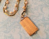 Vintage Locket, Tri-Fold Locket with Stripes and Floral Edges, Watch Chain and Ivory Pearl Chain, Gift for Her