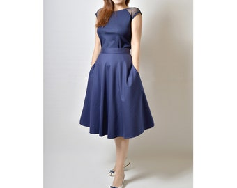 Midi skirt in navy, Flared Skirt with pockets, Ready to ship