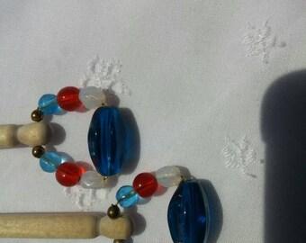 Wood Bobbin Lace Bobbins with Glass Bead Spangles