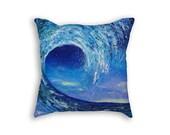 Blue pillow cover Decorative pillow cover Cushion case Royal Blue pillow Wave painting print Marine home decor Summer house decoration
