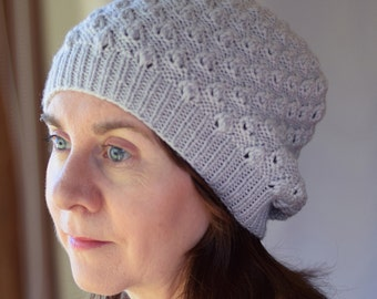 Textured Lace Knit Hat Pattern - LINDEN SLOUCHY Hat Knitting Pattern PDF - Digital Download