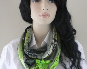 Green and yellow infinity scarf