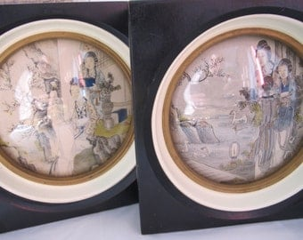 Asian Framed Ink & Color Framed Works of Art. Ladies @ Leisure. Figural Works of Art Chinese. Old Orient Appeal ART Home Decor Asian Chinese