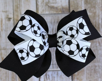 Soccer Hair Bows - Soccer Gifts - Soccer Bow - Soccer Hair Ties - Girls Hair Bow - Girl Soccer Bows - Girl Hair Accessories - Toddler Bows