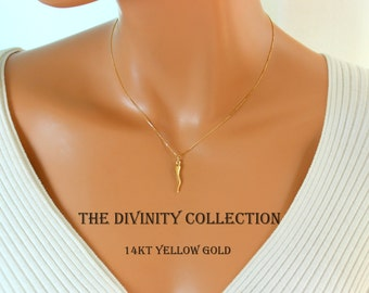14kt solid gold cross necklace women simple small charm 14kt yellow gold italian horn pendant necklace women cornetto cornicello charm fine jewelry 14k superb quality aloadofball Image collections