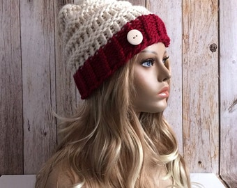 Chunky cranberry and fisherman knitted women hat beanie, gift or for you