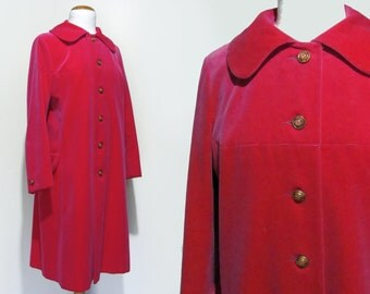 60's Hot Pink Velvet Coat Rainmaster