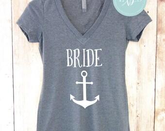 Bride Anchor Shirt. Nautical Wedding. Bridesmaid Shirts. Destination Wedding Nautical Shirts Bachelorette Party Shirts
