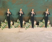 1920s Groom Bridge Tally Cards, UNUSED, Die Cut Place Cards, Volland, Vintage Wedding Marriage, Bridal Shower, Tuxedo, Antique Card