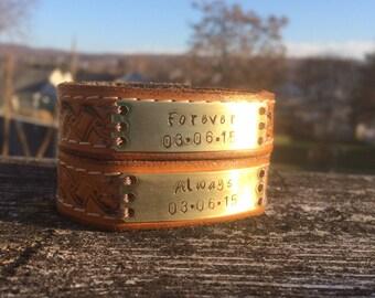 Matching Couples Bracelets, Forever & Always Leather Bracelet Set, Couples Leather Bracelet, Women-Men, Brass Bracelet cuff