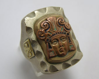 SALE - Vintage Mexican Mexico Biker Ring with Mayan Aztec Warrior and Eagle Shield Sides HUGE