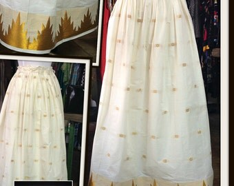 Vintage Ivory Gold Metallic Long Maxi Skirt High Waist FREE SHIPPING