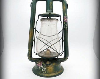 VINTAGE DIETZ  Oil Lantern with Dietz Glass -  with Hand Painted Art - Wall Hanging Hook Option Available - In good working Condition