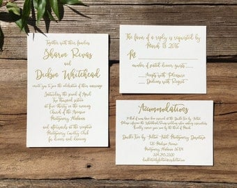 Gold Suite - Letterpress Wedding Invitations