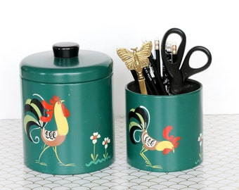 Vintage Set of Green Tin Ransburg Containers Hand Painted with Rooster and Flowers, Ransburg Genuine Hand Painted Indianapolis Made in USA