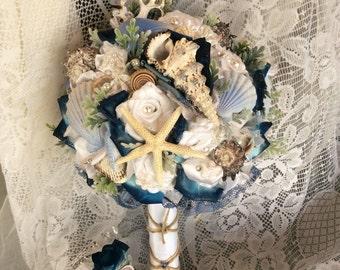 Beach Wedding Bouquet Beach Wedding Flowers Blue/White Beach Flower Bouquet-Beach Flowers-Nautical Seashell Wedding-Beach Bridal Flowers