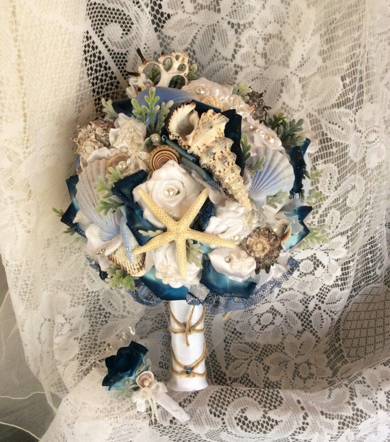 Beach Wedding Flower Arrangements: Beach Wedding Bouquet Beach Wedding Flowers Blue/White Beach