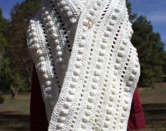 Prayer Shawl Berries & Lattice Hand-Crocheted, Prayer Bolero, Prayer Wrap, Bolero, Shrug, Wrap