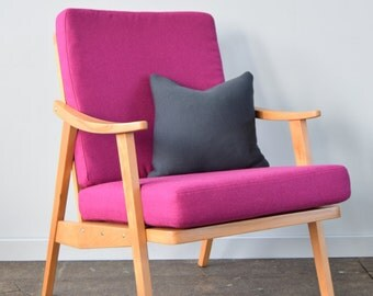 Restored Retro Chair in Pink Wool
