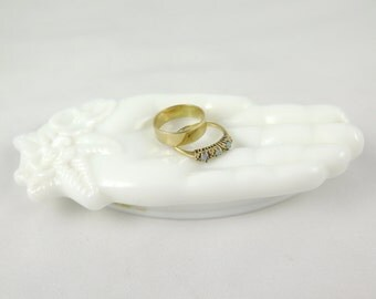 Vintage Avon Milk Glass Hand With Flowers, Soap Dish, Shabby Chic Jewelry Holder