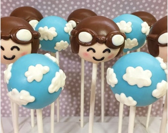 12 Aviator & Cloudy Sky Cake Pops for Amelia Earhart theme, airplane, plane, transportation, around the world, travel, baby shower, pilot