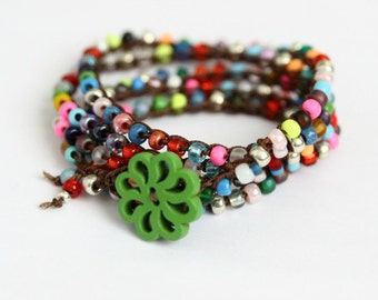 Colorful Multi Wrap Bracelet, 5X, Gypsy Hippie Bracelet, Long Necklace, Bohemian Jewelry, Flower Button Bracelet, Beaded Bracelet, Crochet