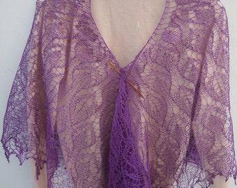 Purple summer linen wrap shawl. Ready to ship.