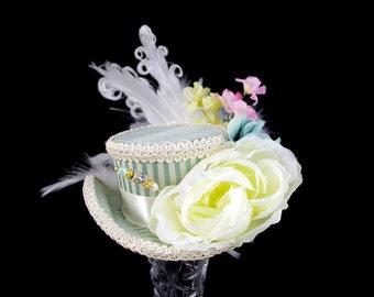 Light Blue Green and Cream Striped Flower Garden Mini Victorian Riding Hat Fascinator, Marie Antoinette, Alice in Wonderland, Derby Hat